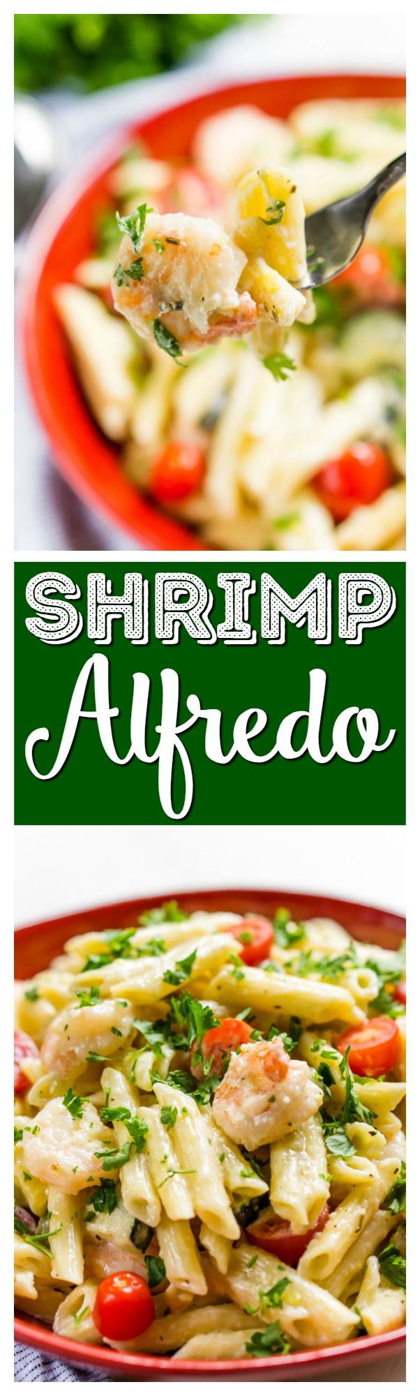 This Shrimp Alfredo is loaded with delicious shrimp, fresh veggies, and a creamy alfredo sauce that will have the whole family running to the table! Serve it up with the pasta of your choice! via @sugarandsoulco