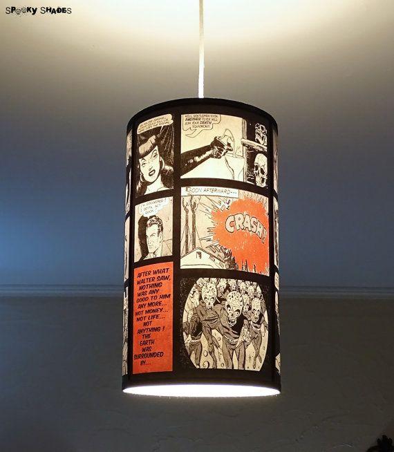Comic Strip celing pendant lamp shade lampshade - lighing, pop culture, comic book, geek, pendant light,dorm room, red lamp
