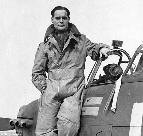 Douglas Bader in Sidcot suit. RAF 242 Sqdn. This photo was taken at Goodwood, but Bader took off from Westhampnett on his last operational mission before his capture.