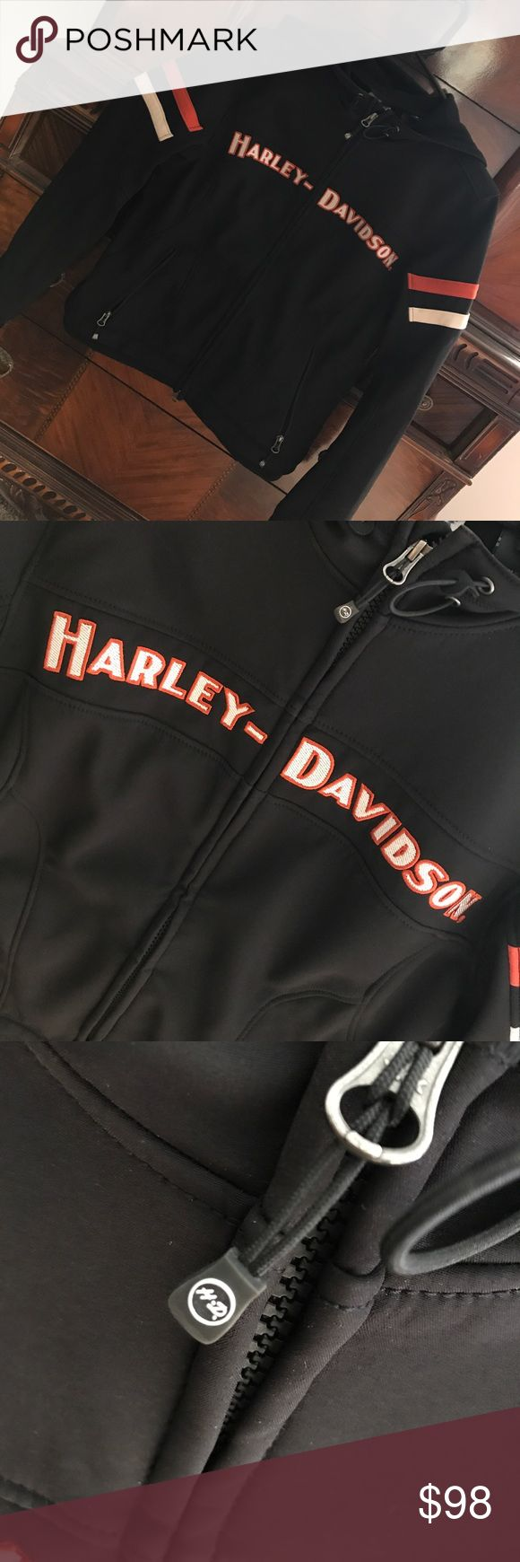 Harley Davidson Miss Enthusiast Soft Shell Jacket Worn once. I no longer ride, so parting ways. Size Medium. Very warm, can be used as a spring/fall riding jacket. Harley-Davidson Jackets & Coats