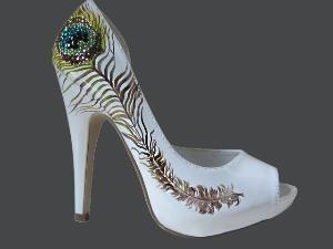 Hand Painted Heels - Modern Henna Lime green court shoes - UK5/ US7.5/ EU38…