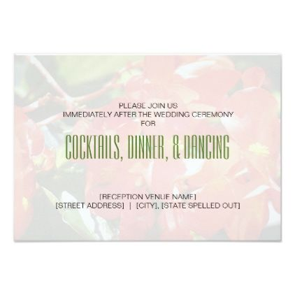 #Red Begonias Wedding Reception Card - #weddinginvitations #wedding #invitations #party #card #cards #invitation #photo