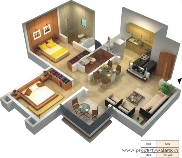 1000 images about 3d housing plans layouts on pinterest for 3 bedroom house plan design 3d