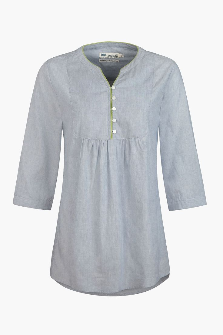 Airy summer tunic in super-fine, pinstriped cotton. The Seasalt Soft Putty Top has a loose, smock-like shape, V-neck