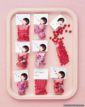 Valentine's Day Treat Packages  To make these custom treat packages, cut out a picture of your child, scan it, and print onto heavyweight matte paper. Cut tags using pinking shears for the bottom edges, draw hearts, and stamp or write a message on each one. Fold the tags and tape them to cellophane bags filled with sweets. Distribute to classmates!