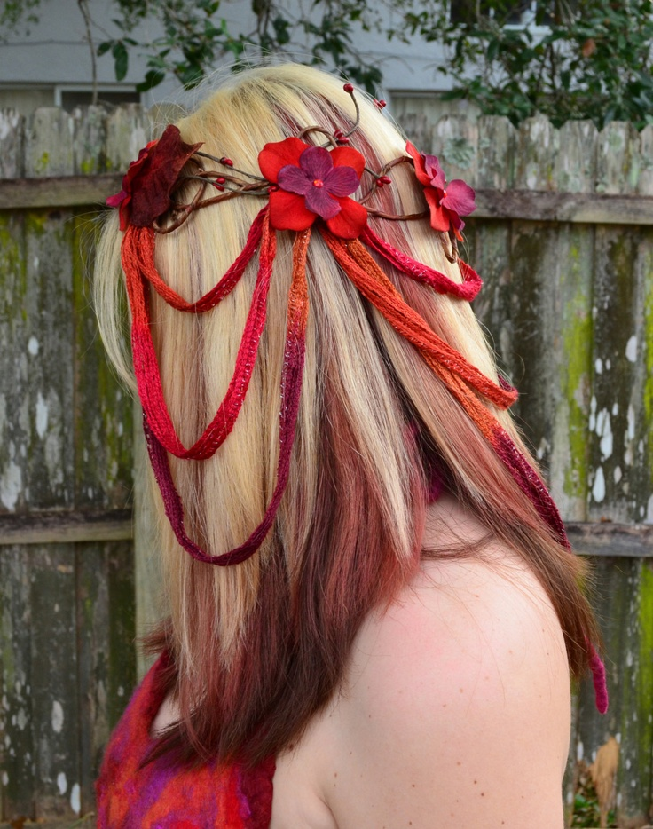 """❥ ALL of the proceeds for this """"Dragoness"""" cascading goddess headpiece are going to help Angi Sullins' sister who is recovering from a coma~ It can be purchased at this link: https://www.etsy.com/listing/119478578/dragoness-fire-toned-draping-headpiece.  ❥ Visit her relief page to read the story and learn about other ways to help. http://www.facebook.com/RobinsReliefFund"""