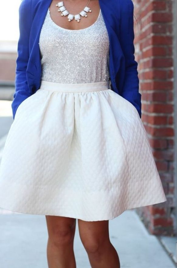 This is the style of dress that I love, because it flares out at the waistline, but I can't wear white.