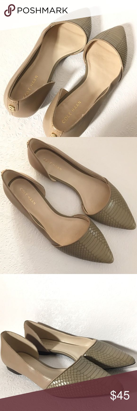 Cole Haan Amalia Skimmer flats Like new condition True to size- 6B standard width   - Pointed toe - Contrast print - d'Orsay construction - Imported  Leather upper and sole Olive green/ taupe Cole Haan Shoes Flats & Loafers