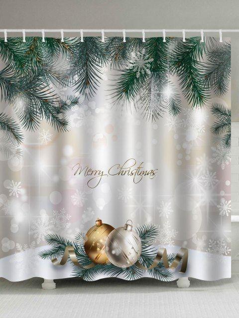 Christmas Pine Baubles Print Fabric Waterproof Shower Curtain