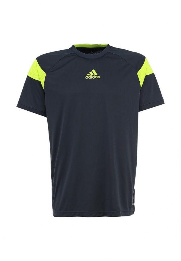 Футболка спортивная Adidas Performance мужская. Цвет: зеленый. Сезон: Весна-лето 2014. С бесплатной доставкой и примеркой на Lamoda. http://j.mp/1nJjqWq