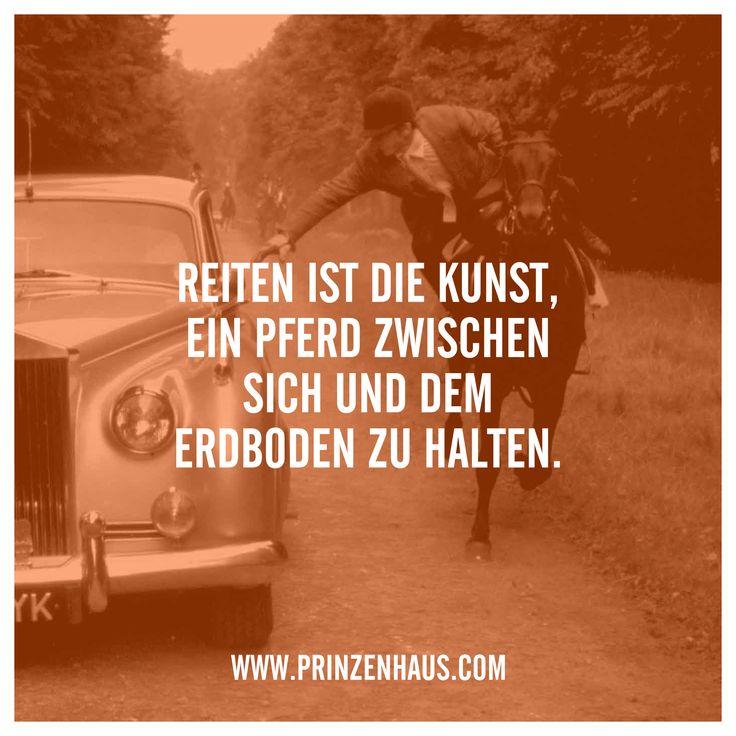 www.prinzenhaus.com REITEN IST DIE KUNST, EIN PFERD ZWISCHEN SICH UND DEM ERDBODEN ZU HALTEN.