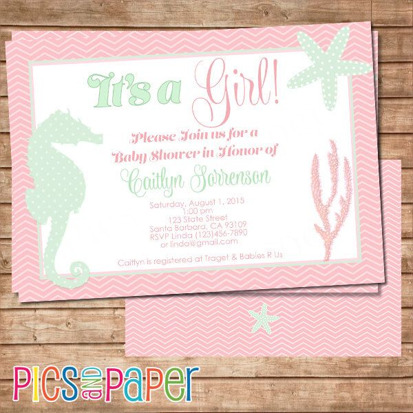 beach ocean baby shower and mint seahorse starfish coral