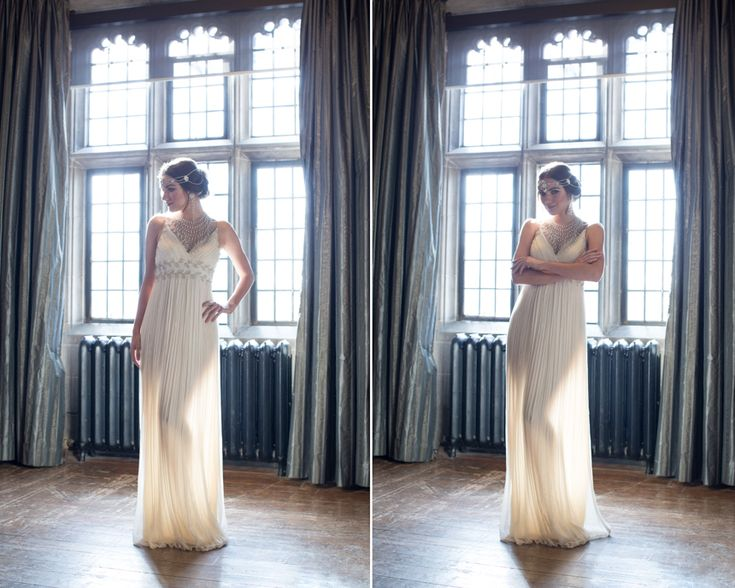 Love this stunning gown from Sash & Bustle Bridal Boutique and headpiece from Kleinfeld Hudson's Bay