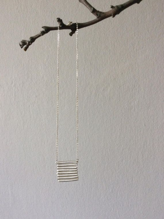 Fringe silver necklace hand twisted coil 925 silver by EliaLaNoire