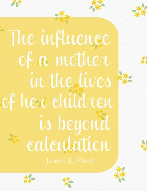 James E. Faust. The influence of a mother in the lives of her children is beyond calculation. #quotes #quote #lds