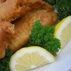 Beer Batter Fish Made Great Recipe - All Recipes.com.  Fry the fish and then add the french fries to the same frying pan - delicious!  Note:- Put less black pepper.