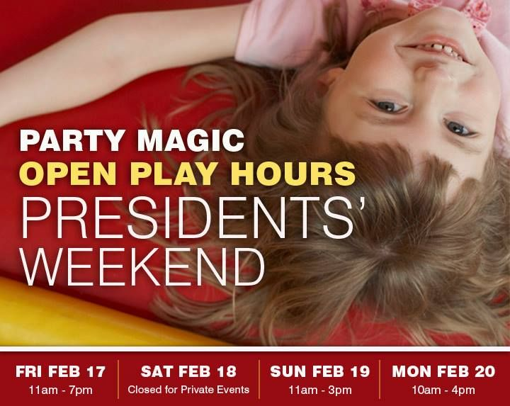 VISIT Party Magic's Indoor Fun Center this Presidents' Weekend School Holiday for great big fun!  Everyone is looking for something for the kids to do this coming long weekend  why not join us FRIDAY FEB 17 and MONDAY FEB 20 for open play.    Party Magic is perfect for Toddlers through pre-Teens!  Brand new inflatables arcade games ticket redemption prizes a new snack bar Toddler Town and much more await.    Cost is just $12.50/child (includes 5 game tokens) and only $10.00 for toddlers age…