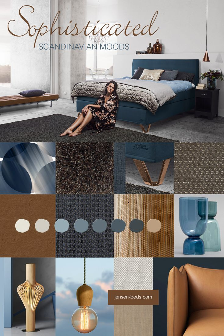 One of the major Scandinavian color trends this fall are various shades of blue, from bright and dusty to deep and sophisticated. Together with golden tones of wood, leather and copper, it brings visual warmth and a luxurious look to your bedroom. Photo: http://jensen-beds.com/ http://www.lonetepper.no/ http://nordic-tales.com/ https://northernlighting.no/ http://www.biritapet.no/ http://k-l-u-b-b-e-n.no/ http://www.photowall.no/ http://www.fogia.se/ http://lady.inspirasjonsblogg.jotun.no/