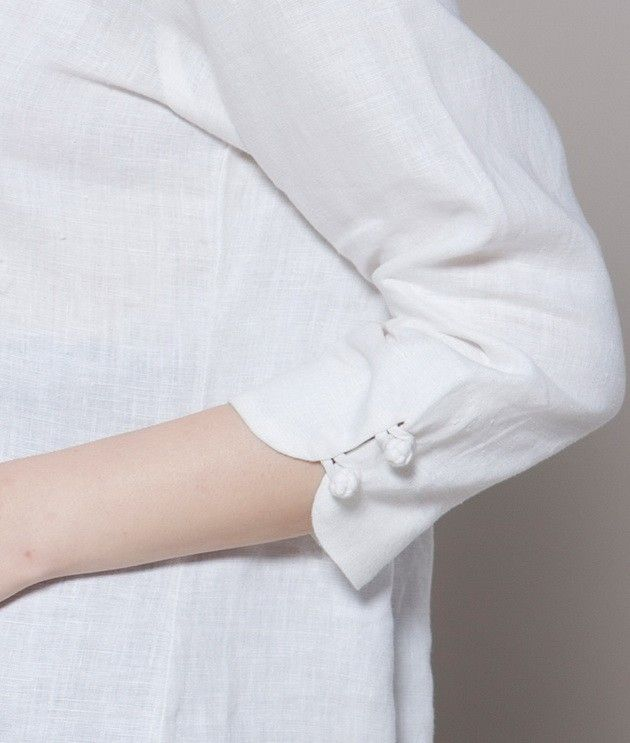 Plait Buttons V Collar Linen Shirt