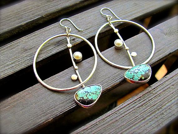Turquoise and Pearl Full Moon Boho Earrings by DeliasStudioLimited