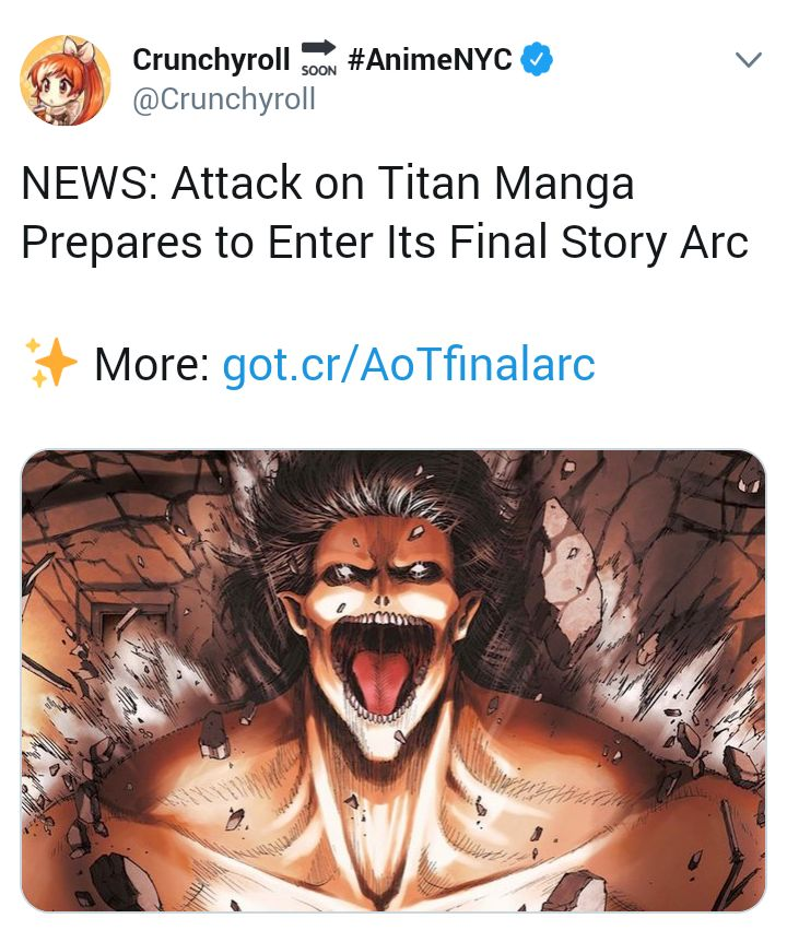 AOT manga is close to entering its final arc 💔. Story