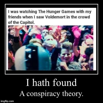 This is more Hunger Games than Harry Potter BUT, why is Voldemort in Hunger Games?? Like, they had so many other people to use and they use Moldy Voldy.