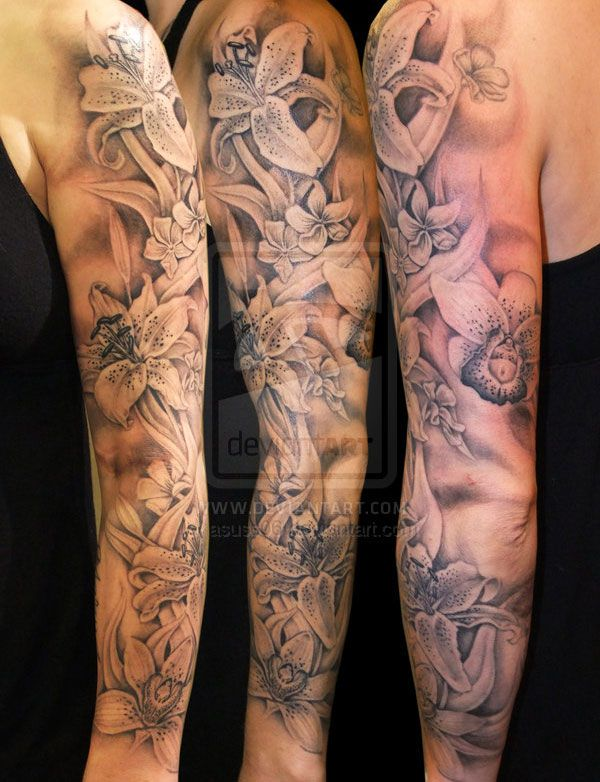 #orchid #tattoo #sleeve - this would be nice to have. Can't find it without the deviantart watermark.