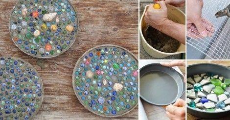 Cómo+hacer+baldosas+de+mosaicos+para+tu+jardín+¡con+un+molde+de+pastel!+