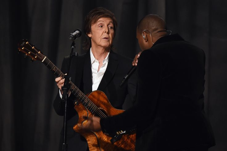 LOS ANGELES, CA - FEBRUARY 08: Recording Artists Paul McCartney and Kanye West perform onstage during The 57th Annual GRAMMY Awards at the STAPLES Center on February 8, 2015 in Los Angeles, California.  (Photo by Larry Busacca/Getty Images for NARAS) via @AOL_Lifestyle Read more: https://www.aol.com/article/entertainment/2017/07/30/paul-mccartney-hints-his-new-album-will-have-a-song-about-donald/23056723/?a_dgi=aolshare_pinterest#fullscreen