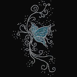Rhinestone Design Patterns | 9x16 - BLUE BUTTERFLY WITH SWIRLS (RHINESTONE) - blue, blue butterflys ...
