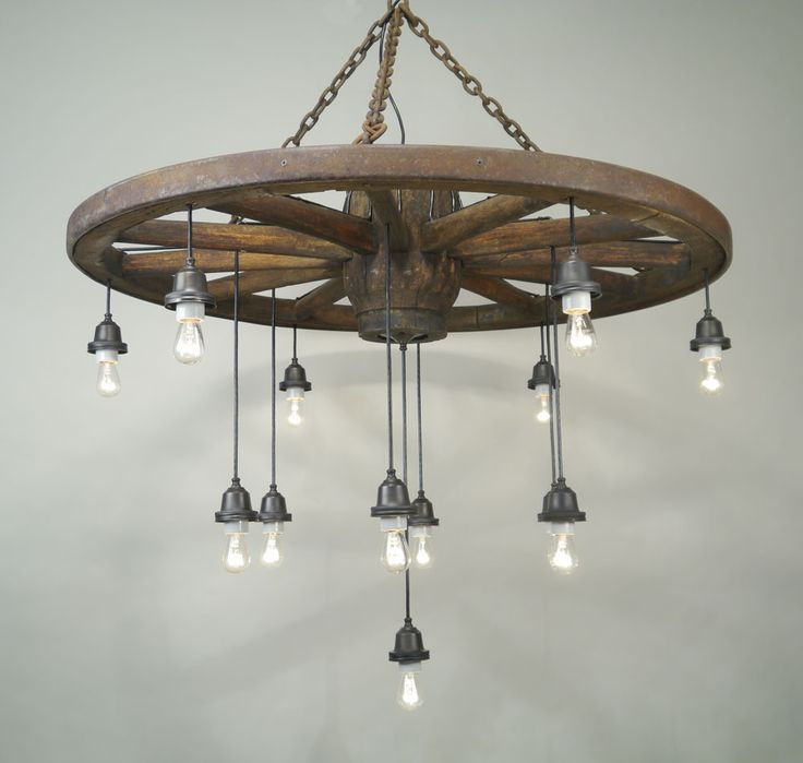 Wagon Wheel Light Fixture With Mason Jars