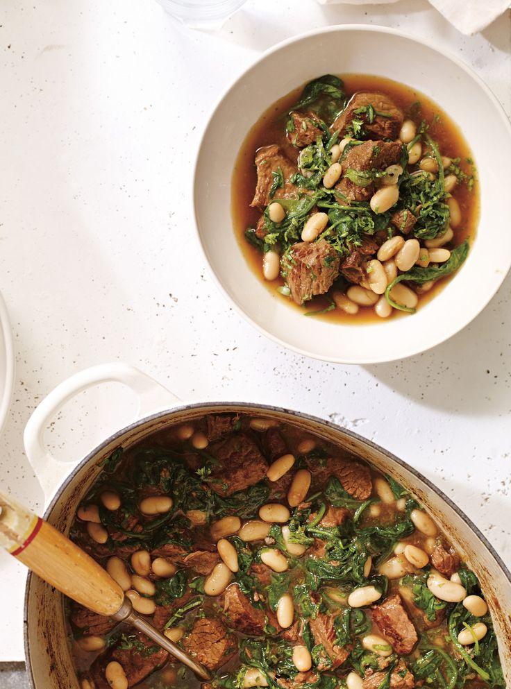 Recette de Ricardo de boeuf mijoté aux épinards  et aux haricots blancs