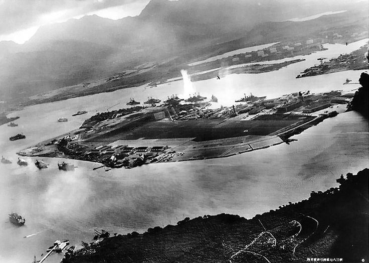 An aerial view of Ford Island in Pearl Harbor during the Japanese attack, 7 Dec 1941; photo taken from a Japanese aircraft