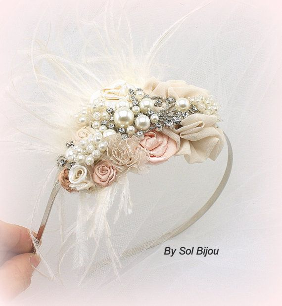 Bridal Headband in Champagne Ivory and Blush with by SolBijou, $165.00