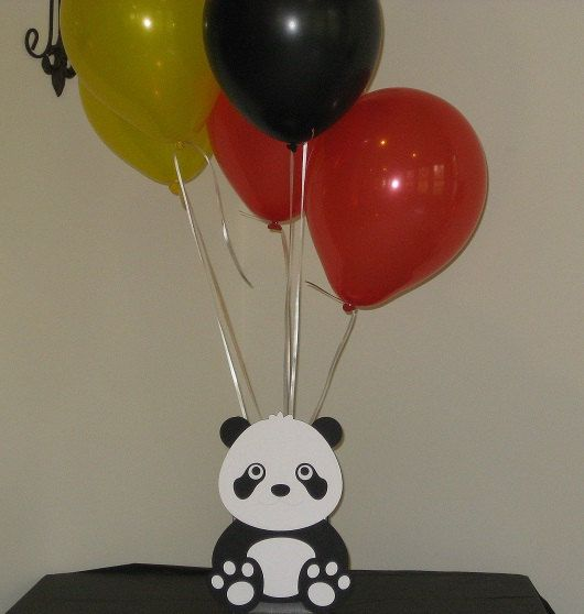 Panda bear birthday party table decorations centerpiece