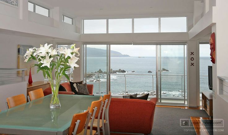 stunning view from the open plan living / dining area of this home in Island Bay, Wellington, NZ.
