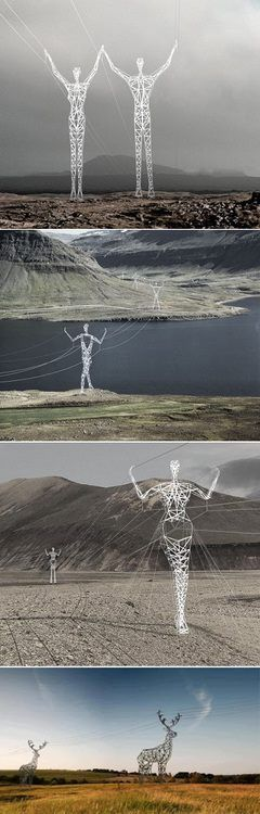Electric Poles, Iceland - This cool company flawlessly transformed regular and boring electrical pylons into creative parts of the Icelandic landscape