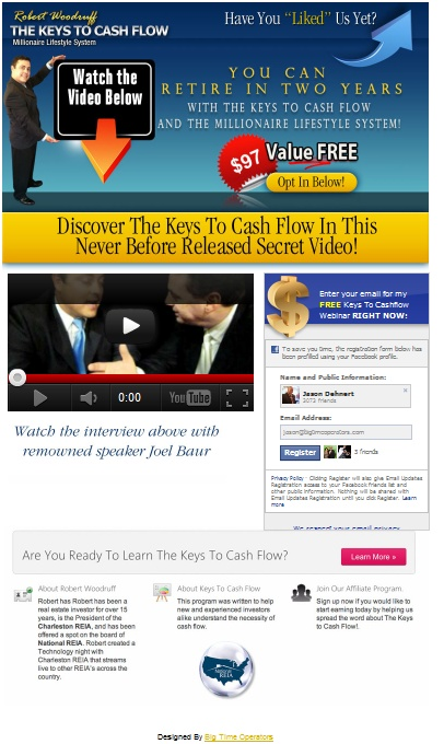 Here is a custom Timeline Fanpage we made for Robert Woodruff for his Keys to Cashflow project here is a live link to his page. https://www.facebook.com/TheKeysToCashFlow/app_284520928289303