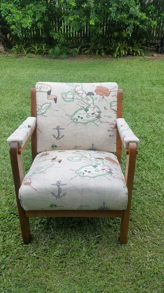 Galapagos revived this old chair.  Sanderson fabric available at www.delamadele.com.au
