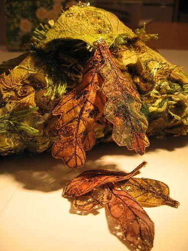 Lutradur leaves and mossy log