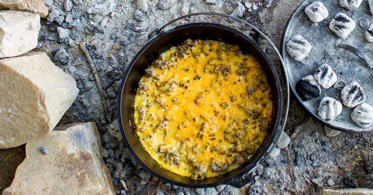 25 best chuckwagon and trailer idears images on pinterest camping a hearty camp cooking breakfast filled with sausage hash browns and eggs cooked in a fandeluxe Image collections