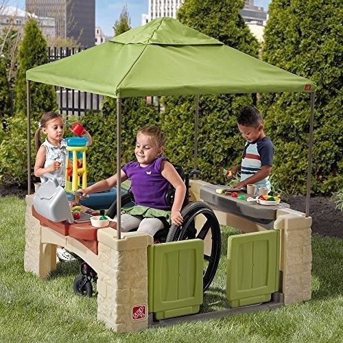 Kids Playhouse All Around Playtime Patio with Canopy Kids Outdoor Fun Toy New #Step2