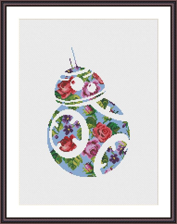 Star Wars Cross Stitch PDF pattern Floral BB 8 Silhouette