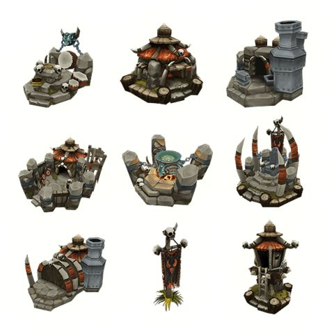 Low Poly Orc RTS Buildings