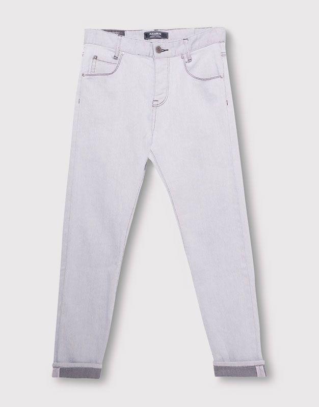 Pull&Bear - homem - vestuário - jeans - calças de ganga skinny fit - cinza - 05684511-I2016