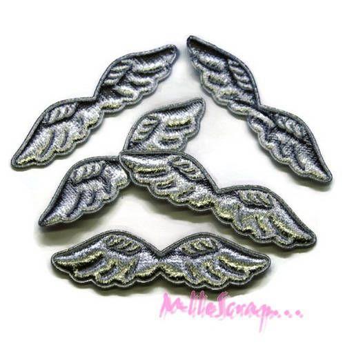 Lot de 5 ailes tissu argenté  embellissement scrapbooking carte (réf.310).* de la boutique MademoiselleScrap sur Etsy