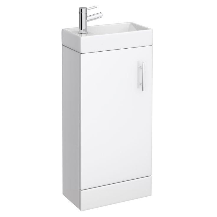 Milan Small Floor Standing Vanity Basin Unit - Gloss White (W400 x D222mm) Large Image