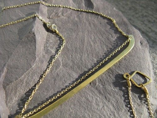 Solar barque, golden brass geometric necklace, antique inspired chain necklace with hammered oversized pendant