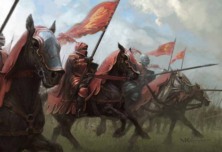Knights of Casterly Rock, Stefan Kopinski on ArtStation at https://www.artstation.com/artwork/Y2wz6