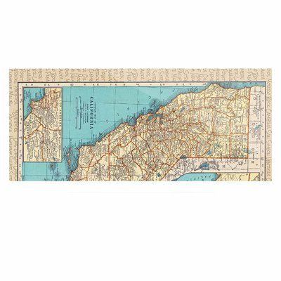 "East Urban Home 'So Cal Surf Map' Graphic Art Print on Metal Size: 16"" H x 20"" W x 1"" D"